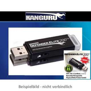 Kanguru - 008 GB - Defender Elite200 (Encrypted USB Flash Drive) - Farbe Schwarz - hardwareverschlüsselt - USB 2.0 - FIPS-197 - FIPS 140-2 Level 2