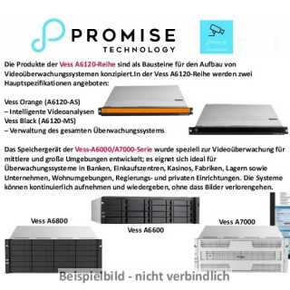 Promise - VA6120 Black - WS2012, 1U 4, Management Server, 1* CPU - 32 TB (4x8),  1xE5-2620v4, 8 GB DDR, 3,5 7200 rpm SATA HDD, M2 64 GB, WS2012 OS installed