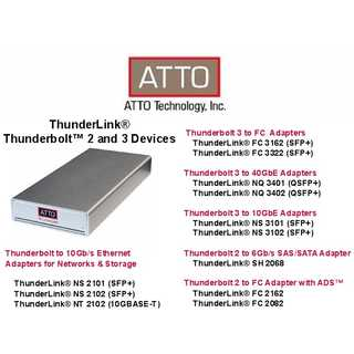 ATTO - ThunderLink Dual 40Gb to 8-Port 12Gb SAS/SATA Thunderbolt 3 Adapter, IEC C-13 power cord included